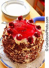 Home made Black Forest cake Schwarzwalder Kirschtorte with...