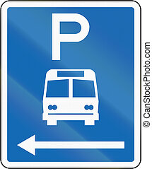 New Zealand road sign - Parking zone for buses with no time limit, on the left of this sign
