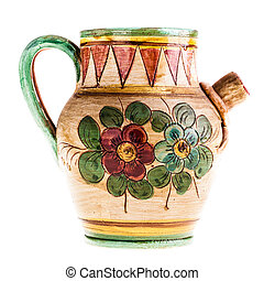 Small pitcher - a decorated ceramic vase isolated over a...