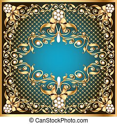 illustration frame background with gold pattern by net and bow