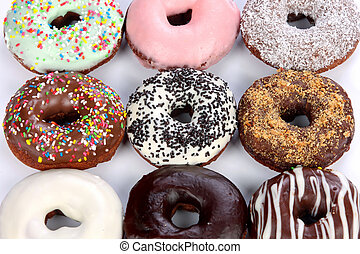 donuts  - details of separate donuts in close up