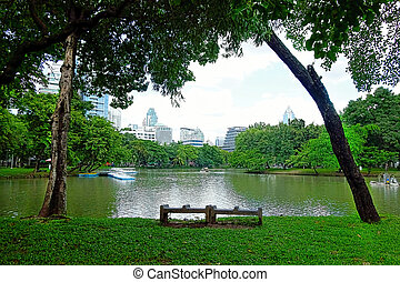 BANGKOK - july 3: Lake view of Lumpini Park in the Thai...