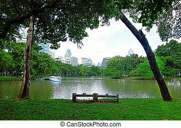BANGKOK - july 3: Lake view of Lumpini Park in the Thai...