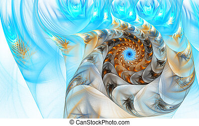 illustration of a fractal shell on the sea