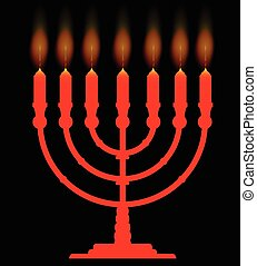 Menorh With Seven Candles - A menorah with seven lit candles...