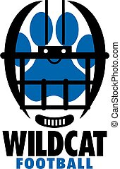 wildcat football team design with helmet and paw print