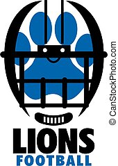 lions football team design with helmet and paw print