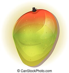 Mango - Illustration of a cartoon tropical mango fruit