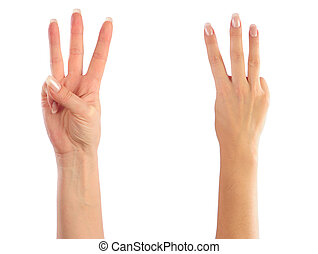 Female hands counting number 3