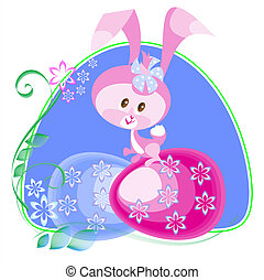 Easter bunny on the blue frame