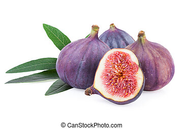 Fig Fruit over White Isolated