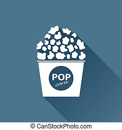 Vector pop corn icon - Vector white pop corn icon on dark...