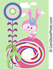 Easter bunny with a flower
