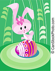 Easter bunny on the greene grass