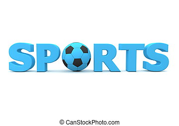 Football Sports Blue - blue word Sports with football/soccer...
