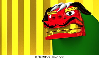 Lion Dance On Gold Text Space. Loop Able 3D render Animation...