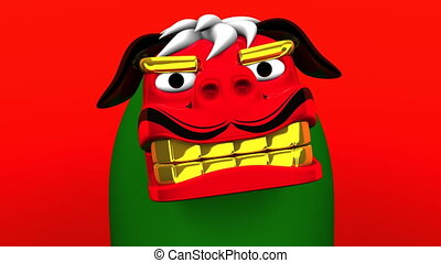 Lion Dance On Red Background Loop Able 3D render Animation...