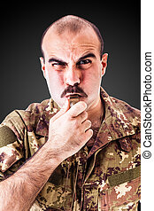 Discipline - a soldier or drill sergeant blowing a whistle...