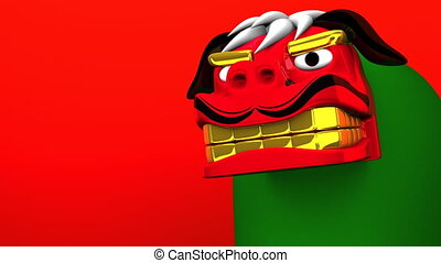 Lion Dance On Red Text Space. Loop Able 3D render Animation...