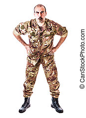 Tough Drill Sergeant - a soldier or drill sergeant blowing a...