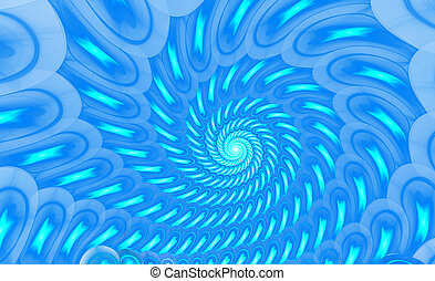 illustration of a fractal background blue spiral ornament