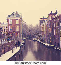 Utrecht Winter view - Canal in Utrecht, Netherlands. Old...