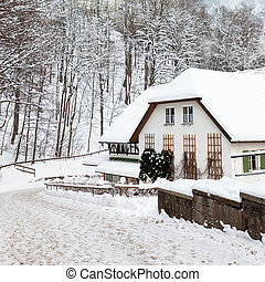 Bavarian snowy winter - Bavarian Alpine house in snowy...
