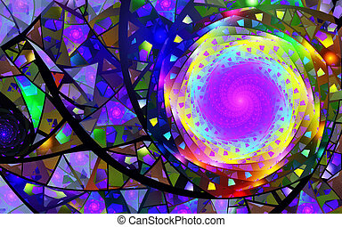fractal illustration of purple spiral background ornament