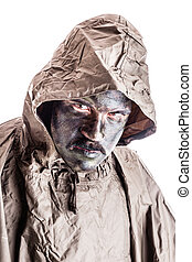 Soldier with poncho - a soldier wearing a poncho or raincoat...