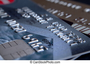 Credit cards in the small depth of sharpness. Two credit...
