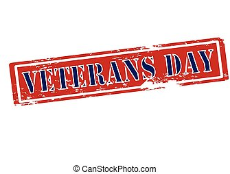 Veterans day - Rubber stamp with text veterans day inside,...
