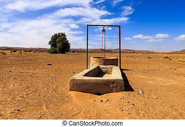 water well in the Sahara desert and the passing caravan
