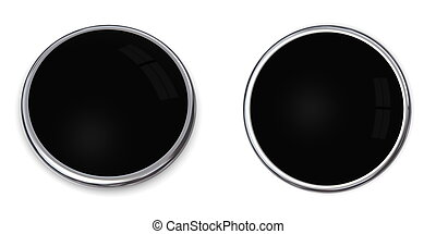 3D Button Solid Black - 3D button in solid black, front and...