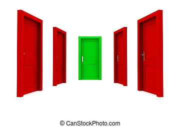 Choose the Right Door - Red and Green
