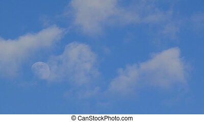 Bright Blue Morning Sky With The Half Moon And Clouds - TIME...