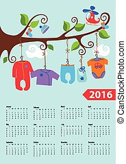 American calendar 2016 year.Baby boy fashion - Calendar...