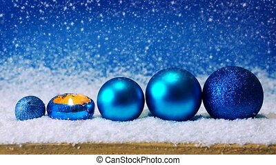 Blue Christmas decoration and snowfall - Blue christmas...