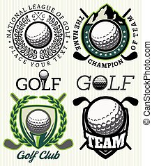 set vector patterns badges with attributes for golf - set of...