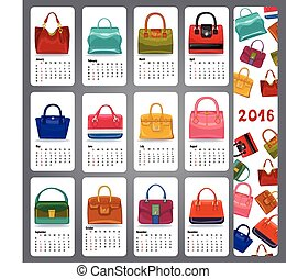 Calendar 2016.Fashion woman handbags - Calendar 2016 new...