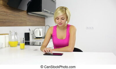 women use tablet pc internet web surfing, girl - woman use...