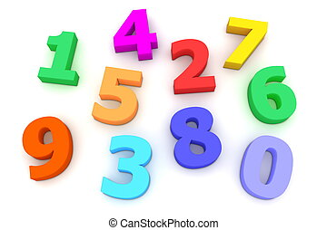 Plastic Numbers - coloured bright plastic characters from 0...