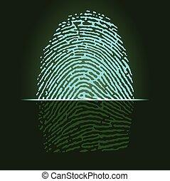 Fingerprint scanner, identification system. Vector.