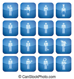 Cobalt Square 2D Icons Set: Occupation - Mans occupation...