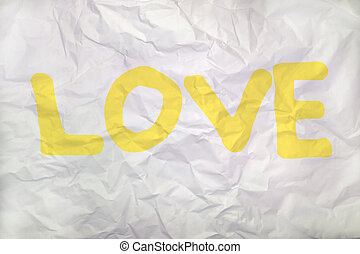 love word on a wrinkled paper