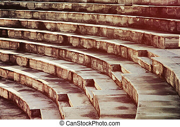 Stone steps of the ancient amphitheater.