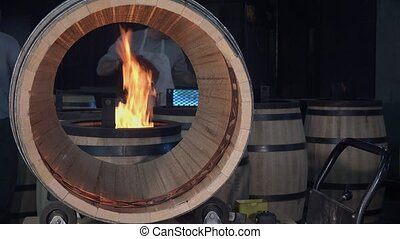manufacturing wine barrels - laying an inner marking...