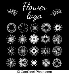 Set of flowers Wonderful round elements for logo, icons,...