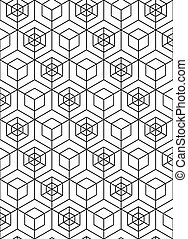 Illusive abstract geometric seamless pattern with cubes...