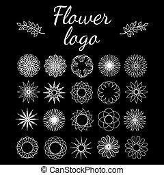 Set of flowers Wonderful round elements for logo, icons,...
