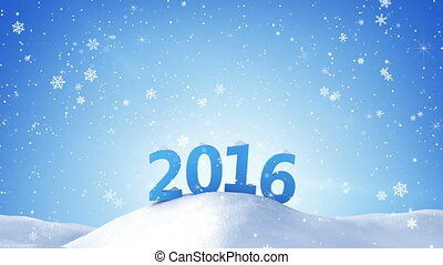 new year 2016 sign in snow drift. Computer generated...